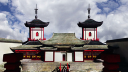Chinese Building Clouds Timelapse 01 Stock Video Footage