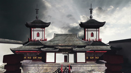Chinese Building Clouds Timelapse 03 Stock Video Footage