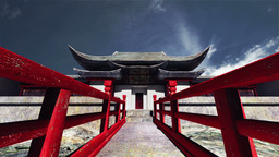 Chinese Building Clouds Timelapse 05 Stock Video Footage