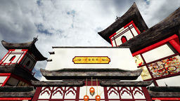 Chinese Buildings Clouds Timelapse 02 Stock Video Footage