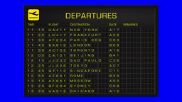 International Airport Timetable All Flights Cancelled BlueScreen DEPARTURES Animation