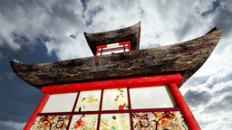 Japanese Pagoda Clouds Timelapse 02 Stock Video Footage