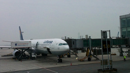 Lufthansa Flight Waiting at Beijing Airport 03 Footage