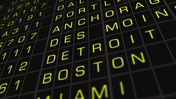 US Domestic Airport Timetable 01 extreme closeup Animation