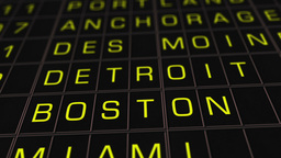 US Domestic Airport Timetable 01 extreme closeup Stock Video Footage