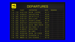 US Domestic Airport Timetable All Flights Gets Cancelled BlueScreen DEPARTURES Animation
