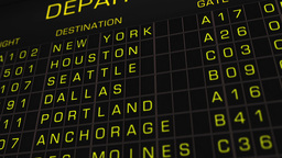 US Domestic Airport Timetable All Flights On Time 02 Stock Video Footage