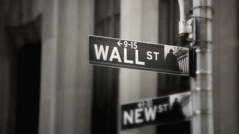 Wall Street Sign, grainy Stock Video Footage
