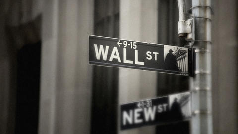 Wall Street Sign, grainy Footage