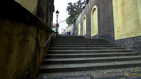 view on stairs at side of prague cafedral square Stock Video Footage