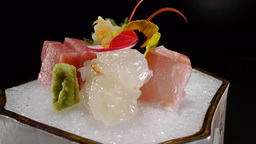 Gourmet Restaurant Food Sashimi Raw Fish Japanese stock footage