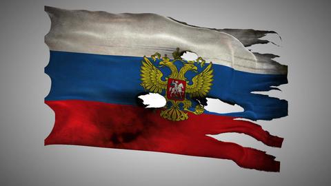 Russian perforated, burned, grunge waving flag loo Footage