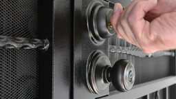 Unlocking Security Door stock footage