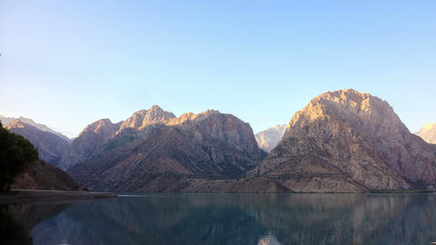 Mountains in the morning sun. Time Lapse. Tajikist Footage