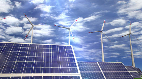 Solar panels and wind turbines - passing by Animation
