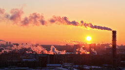 Cold sunset over the city. Ekaterinburg, Russia Footage