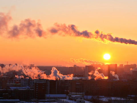 Cold sunset over the city. Ekaterinburg, Russia. 6 Footage