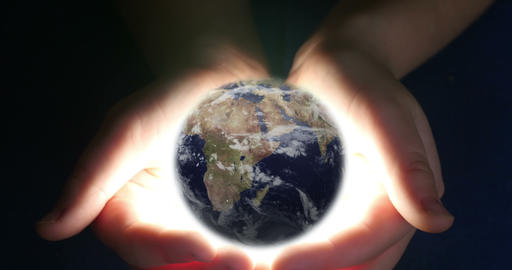 Boy Holding Earth In Her Hands 4k Footage