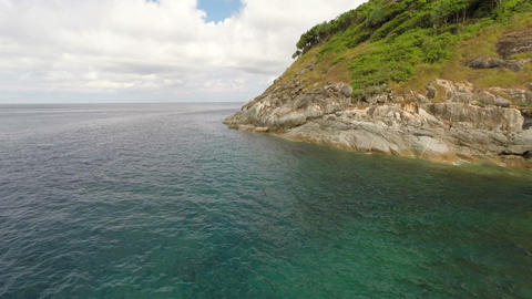 Flying along the rocky coast. Flight height of 5 m Footage