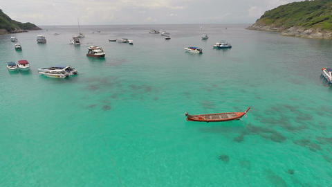 Bay with boats. Overhead shot Footage