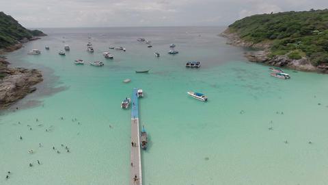 Beautiful bay. Aerial shot. Ko Racha Yai Island. P Footage