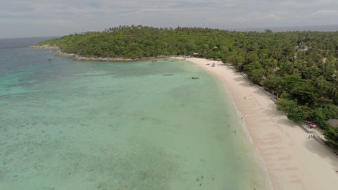 Flying over the deserted beach Footage