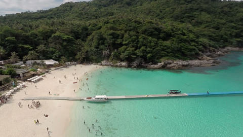 Ko Racha Yai Island. Flying over the beach Footage