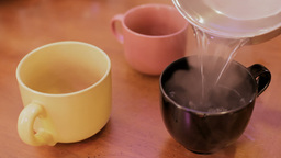 Three Cups Hot Water One Tea stock footage
