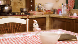 Stuffed Toy Bunny In Kitchen stock footage