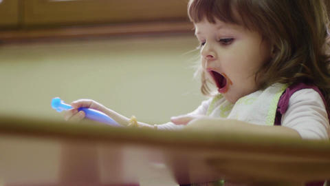 Preschooler Eating Lunch In Classroom, Baby Girl,  stock footage