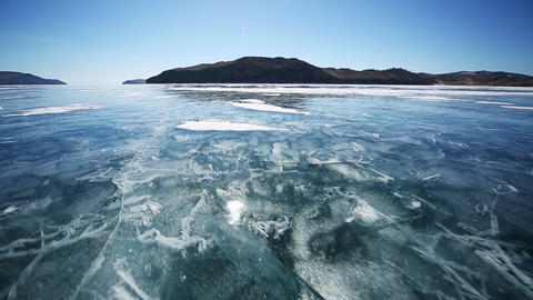 Drive the car across the frozen Lake Baikal 영상물