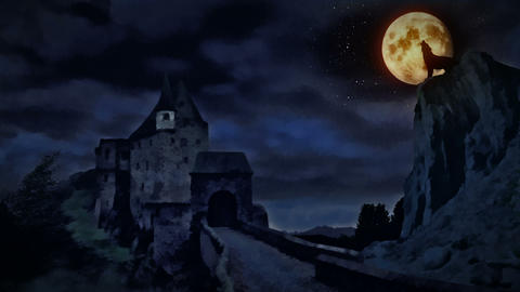 Dark castle and a wolf howling at the moon Animation