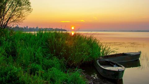 Sunrise Over Nero's Lake In Rostov, Russia, Timela stock footage