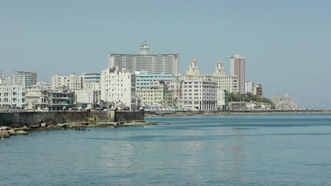 City view of Havana and Caribbean sea, Cuba. Sequence Live Action