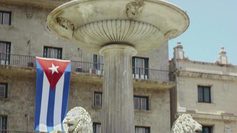 Details Of Havana, Cuba. Fountain Nearby San Franc stock footage