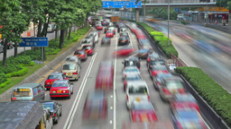 Timelapse video of busy traffic in Hong Kong Footage