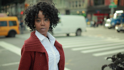 African American Black Woman In City Serious Face Hd stock footage