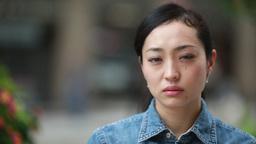Asian Woman Sad Serious Face stock footage