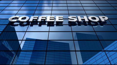 Coffee building blue sky timelapse Animation