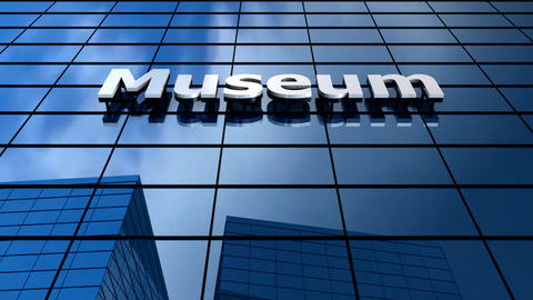 Museum Building Blue Sky Timelapse stock footage