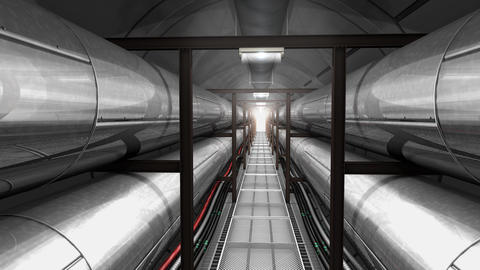Underground Cable And Pipe Tunnel stock footage