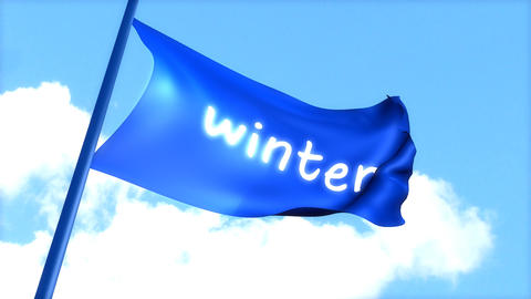 flag Winter waving blue sky Animation