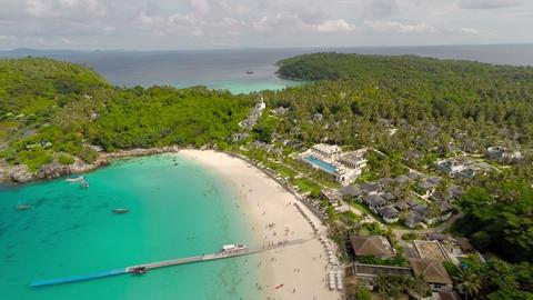 Flying over the beach. Ko Racha Yai Island Footage