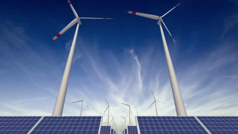 Through solar panels and windmills - loop Animation
