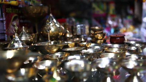 Rack Focus Shot Of Oil Lamps At A Store, Amritsar, stock footage