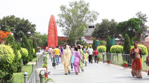Fast Motion Shot Of Tourists In A Garden, Jallianw stock footage
