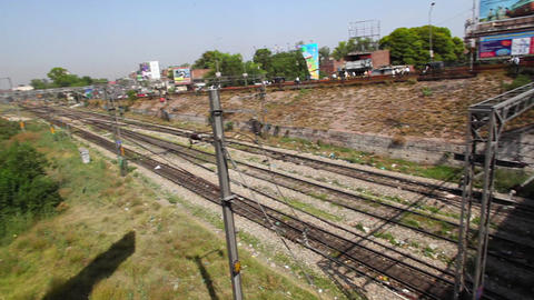 Pan Shot Of Railroad Track, Amritsar, Punjab, Indi stock footage