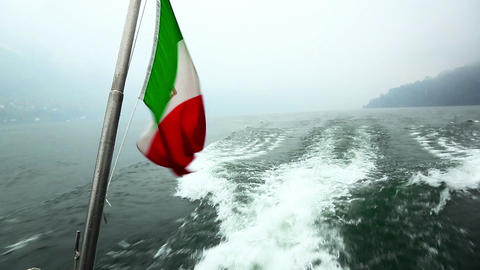 Shot of an Italian flag, Como, Lombardy, Mediterra Footage