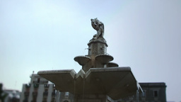 Statue On Top Of Fountain stock footage