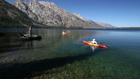 Kayaks on Jenny Lake Footage